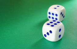 Dice on a green background Stock Photo