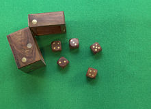 Dice on green Royalty Free Stock Images