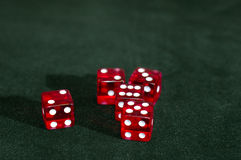 Dice Group. A group of 5 dice on a felt table Stock Image