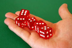 Dice in hand Royalty Free Stock Image