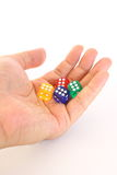 Dice on Hand. Four small dice on hand Stock Photography