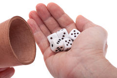 Dice in the hand Royalty Free Stock Photos