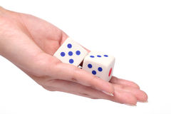 Dice in the hand Royalty Free Stock Photography