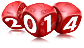 Dice 2014 Happy New Year. Three red dice with the written 2014 and reflections Vector Illustration