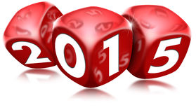 Dice 2015 Happy New Year. Three red dice with the written 2015 and reflections Stock Images