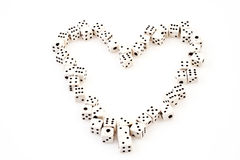 Dice heart. A heart made out of dices, symbolising love for games Stock Photos