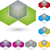 Dice and hexagon, IT services and engineer logo stock illustration