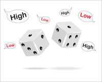 Dice and high-low text frames. Stock Images