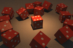 Dice highlighted among other Stock Images
