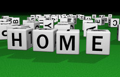 Dice Home. Dice on a green carpet making the word HOME Royalty Free Stock Image