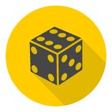 Dice icons set with long shadow Royalty Free Stock Photos