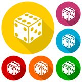 Dice icons set with long shadow Royalty Free Stock Image