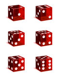 Dice Icons. A set of red casino dice, every face included Stock Photography