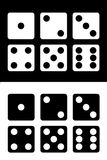 Dice icons set white and black background. vector illustration Stock Photos