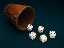 Dice and leather cup. Royalty Free Stock Photos