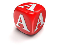 Dice with letter A (clipping path included) Stock Photography