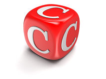 Dice with letter С (clipping path included) Royalty Free Stock Images