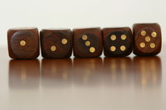 Dice in a line. Five dice in a line Stock Photography