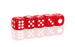 Dice lined in a row Stock Photo