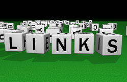 Dice Links. Dice on a green carpet making the word Links Royalty Free Stock Photography
