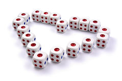 Dice in love shape Stock Images