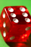 Dice macro shot. Close-up of a red dice showing six royalty free stock photos