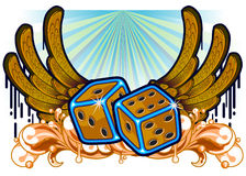Dice and melted wings Stock Image