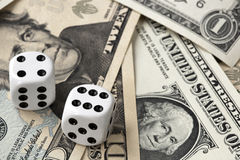 Dice on Money Stock Photos