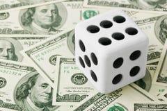 Dice on money background Stock Photography