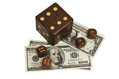 Dice and money isolated Royalty Free Stock Photos