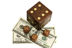 Dice and money isolated on a white background Royalty Free Stock Photo