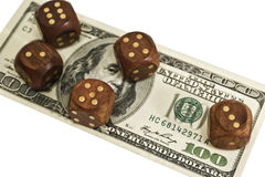 Dice and money isolated on a white background Stock Photo