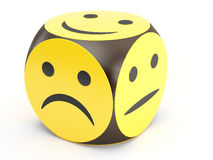 Dice of mood. Dice with smile simbols on white background royalty free illustration