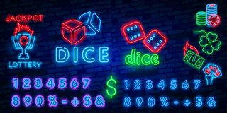 Dice Neon sign vector design template. Dice Game symbols neon logo, light banner design element colorful modern design trend,. Night bright advertising, bright vector illustration