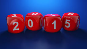 Dice with new year 2015 Stock Images