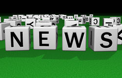 Dice News. Dice on a green carpet making the word news Royalty Free Stock Photo
