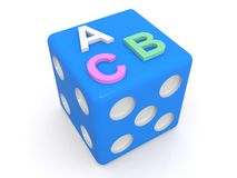 Dice with numbers and letters. Blue dice with four and five on two adjacent faces and the letters ABC on the other, isolated on white stock illustration