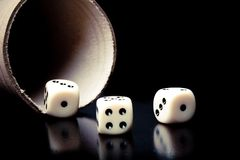 Dice on old wood black table near a container Stock Photos