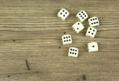 Dice on old,wooden table Stock Photography