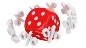 Dice orbital. Discount orbit around the red dice Stock Images