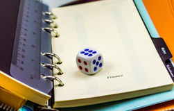 Dice on an organizer Royalty Free Stock Photography