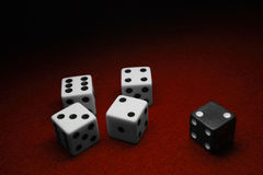 Dice over red. Felt, seperated by color Royalty Free Stock Photo