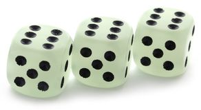 Dice over white background. Two dices over white background Royalty Free Stock Image