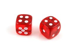 Dice - Pair of 4s. 2 Dice close up- A Pair of 4s royalty free stock images