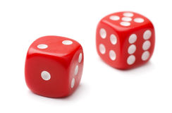 Dice. Pair of red plastic dice isolated on white Royalty Free Stock Image