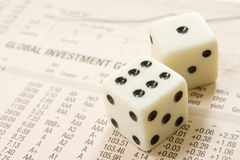 Dice on paper Royalty Free Stock Photos