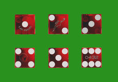 Dice pattern. Different faces of a dice made into a pattern stock images