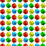 Dice pattern. Seamless pattern of the varicoloured dice cubes Royalty Free Stock Photo