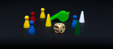 Dice and pawns isolated Royalty Free Stock Photography