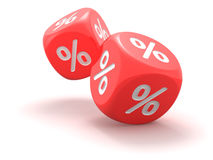 Dice with percent sign Royalty Free Stock Photo